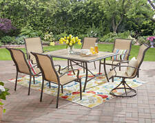 7 Piece Sling Swivel Seating Patio Dining Set Outdoor Home Furniture Collection