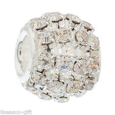 Wholesale Lots Gifts Hollow Clear Rhinestone Beads Fit Charm Bracelet
