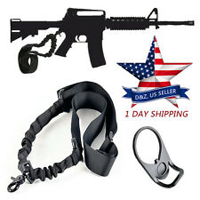 Tactical Bungee For AR-15 Single Point Sling +Adapter Plate Mount Rifle Sling US