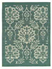 Rubber Backed Non-Skid Non-Slip Ivory - Teal Green Color Floral Design Area Rug