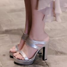Silver Color Side Open Ankle Strap Heel Height (8cm-up) Sandal for Women KS395