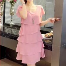 Chiffon Fabric Party Plus Size O-neck Knee-length Pink Color Dress for Women