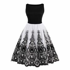 Vintage Floral Embroidery Sleeveless Ball Gown Swing Dress For Women