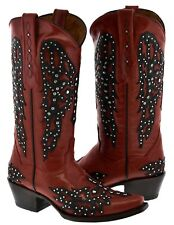"""Womens Red Studded Cross Wings Design Leather Cowboy Cowgirl Boots """
