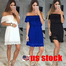 Fashion Women Lace off Shoulder Short Sleeve Mini Dress Party Cocktail Summer US