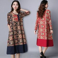 New Fashion Cotton Material Long Sleeve Casual Mid Calf Dress For Women