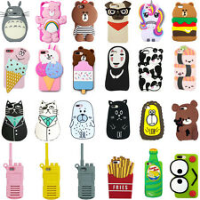 For iPhone 3D Hot Phone Case Cover Cute Animals Cartoon Soft Silicone Back Skin