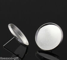 Wholesale Lots Plated Round Cabochon Settings Earring Post W/Stoppers 20x14mm