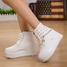 Womens Motorcycle Platform Lace Up Ankle Boot Punk Wedge Rivet Zipper Shoes Sz