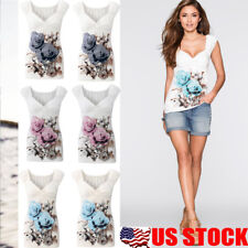 Women Floral Printed V Neck Casual T-Shirt Solid Short Sleeve Cotton Blouse Tops