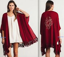 Umgee USA S/M M/L Wine Floral Lace Cardigan New Open Front Fringe Kimono Top