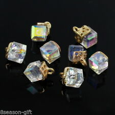 Wholesale Lots Light Golden Charm Pendants Cube AB Color Glass Jewelry Findings