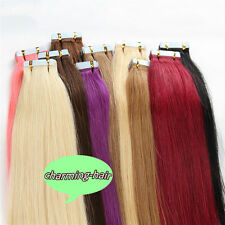 """14""""16""""18""""20""""22""""24"""" Tape In Skin Weft 100% Real Remy Human Hair Extensions 20Pcs"""