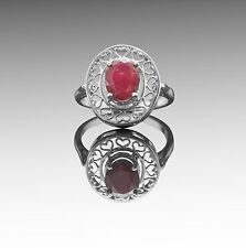 925 Sterling Silver Ring with Oval Cut Red Ruby Natural Gemstone Handmade.