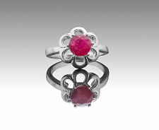 925 Sterling Silver Ring with Red Ruby Round Cut Natural Gemstone Handmade eBay.