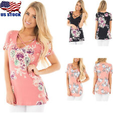 Women V Neck Short Sleeve Floral Print Top Blouse T Shirt Casual Tunic Tops USA