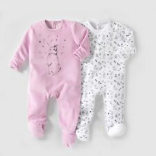 Baby Girls Pack Of 2 Velour Sleepsuits, Birth-3 Years