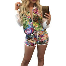 New Women Floral Print Jumpsuit 2PC Outfits Crop Top And Shorts Set Top Casual