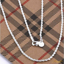 """925 Silver Sterling 3mm Top Quality Twisted Rope Necklace Chain 16""""- 30"""" Inch UK"""