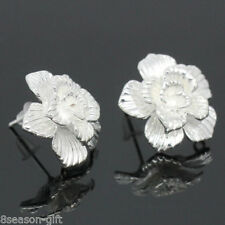 Wholesale Copper Earring Post Five-petaled Flowers Silver Plated 18mmx18mm