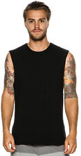 New Swell Men's Basic Muscle Tee Crew Neck Cotton Black