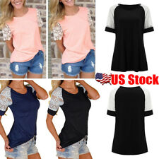 Plus Size Women Sexy Lace Shoulder Short Sleeve Loose Top Blouse T-shirt Tee USA