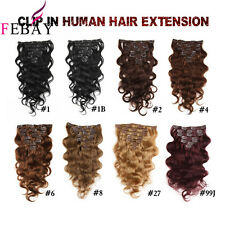 "16""-24"" Full Head Clip In Human Hair Extensions Real Remy Clip In Hair 120g/set"