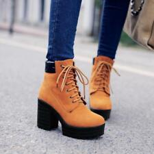 Womens High block Heels Platform Lace Up Punk Motorcycle Chic Ankle Boot SZ