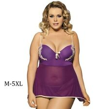 Purple Floral Embroidery Dress Sexy Sleepwear Plus Size Lingerie with G-string