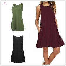 Women Long Tunic Dress Tank Top Sleeveless Scoop Neck Solid Shirt Shirt Dress