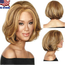 USA Women Short Light Brown Curly Wave Hair Wig Cosplay Party Full Wig / Wig Cap