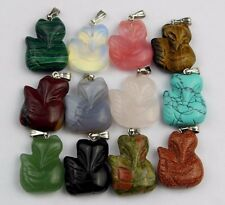 wholesale Mixed material carved 22x17x7mm fox pendant bead