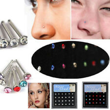 Surgical Steel Rhinestone Crystal Nose Ring Stud Body Piercing Jewelry 24PCS