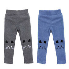 Cute Kids Girl Baby Tight Pants Toddler Stretch Cat Print Warm Leggings Trousers
