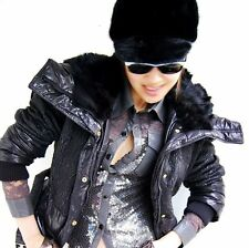 Quilted Real Rabbit Fur Collar Hooded Duck Down Coat Womens Puffer Jacket Warm