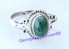925 Sterling Silver Green Malachite Ring stone Ring Size 4 5 6 7 8 9 10 R7ML