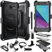 Armor Phone Cover +Belt Clip Holster Hard Case Skin for Samsung Galaxy J3 Emerge
