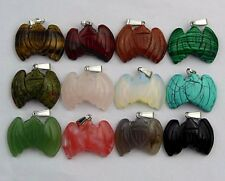 wholesale Mixed material carved 34x24x9mm bat pendant bead