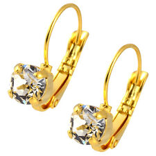 Nara Small Round Crystal Earrings, Gold Plated Leverback with Swarovski