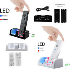Dual Charger Charging Dock Station + 2 Batteries Packs For Nintendo Wii Remote