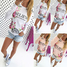 Women's Floral Print Casual Tops T Shirts Round Neck Loose Pullover Blouse Tee