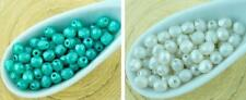 100pcs Pearl Imitation Round Faceted Fire Polished Small Spacer Czech Glass Bead