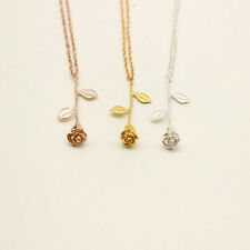 Delicate Rose Flower Pendant Necklace Beauty Charm Rose Gold Silver Jewelry