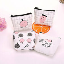 Strawberry Women Girl Canvas Coin Purse Portable Mini Wallet Purse Zip Coin Bags