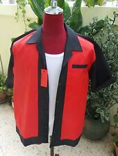 Men's  Rockabilly Vintage 1950's Style Black with red Bowling Shirt