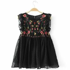 Black White Color Floral Embroidery Sleeveless O Neck Blouse For Women