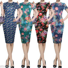 1950s Floral Wiggle Pencil Dress Vintage Pinup Bodycon Wear to Work Party Dress
