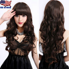 Women Bangs Long Dark Brown Wavy Curly Hair Anime Cosplay Party Full Wig Wigs US