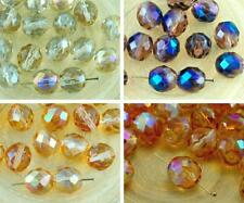 8pcs Crystal Luster Round Faceted Fire Polished Spacer Czech Glass Beads 10mm