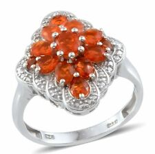 Jalisco Mexican FIRE OPAL Cluster RING in Platinum / Sterling Silver 1.40 Cts.